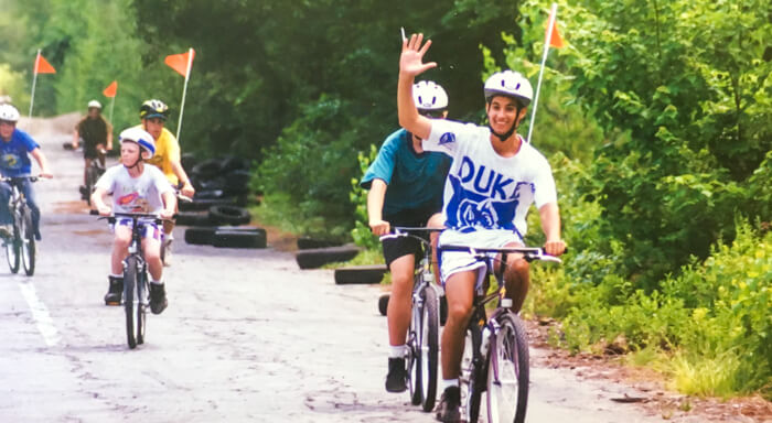 Throwback photo of campers biking