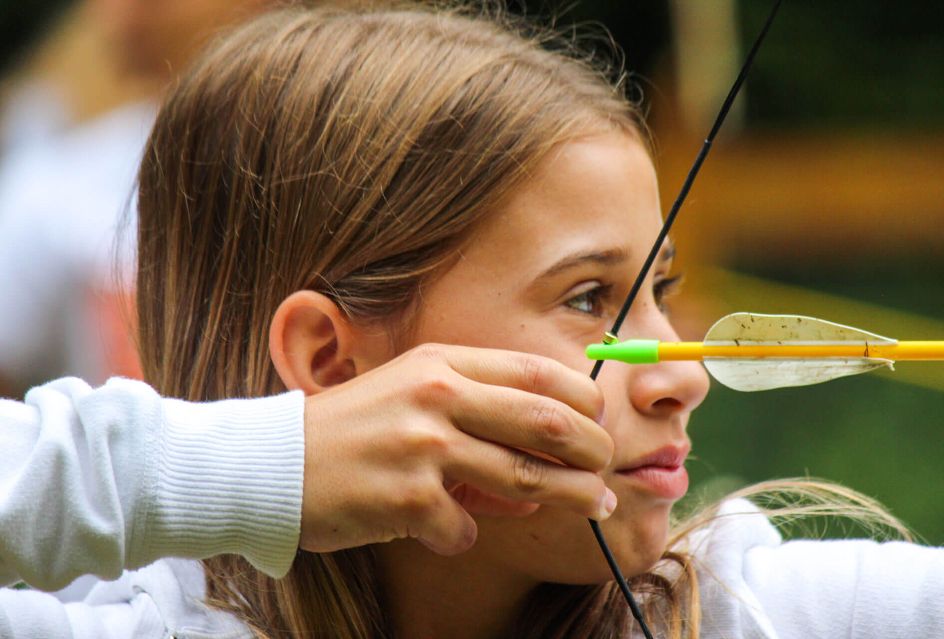 Close up camper drawing bow