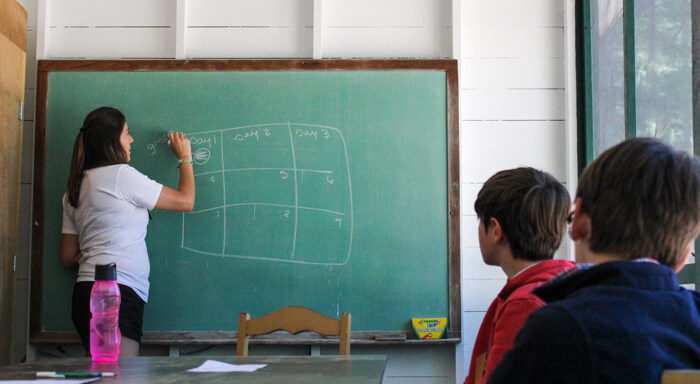 Teacher writes on chalkboard for students