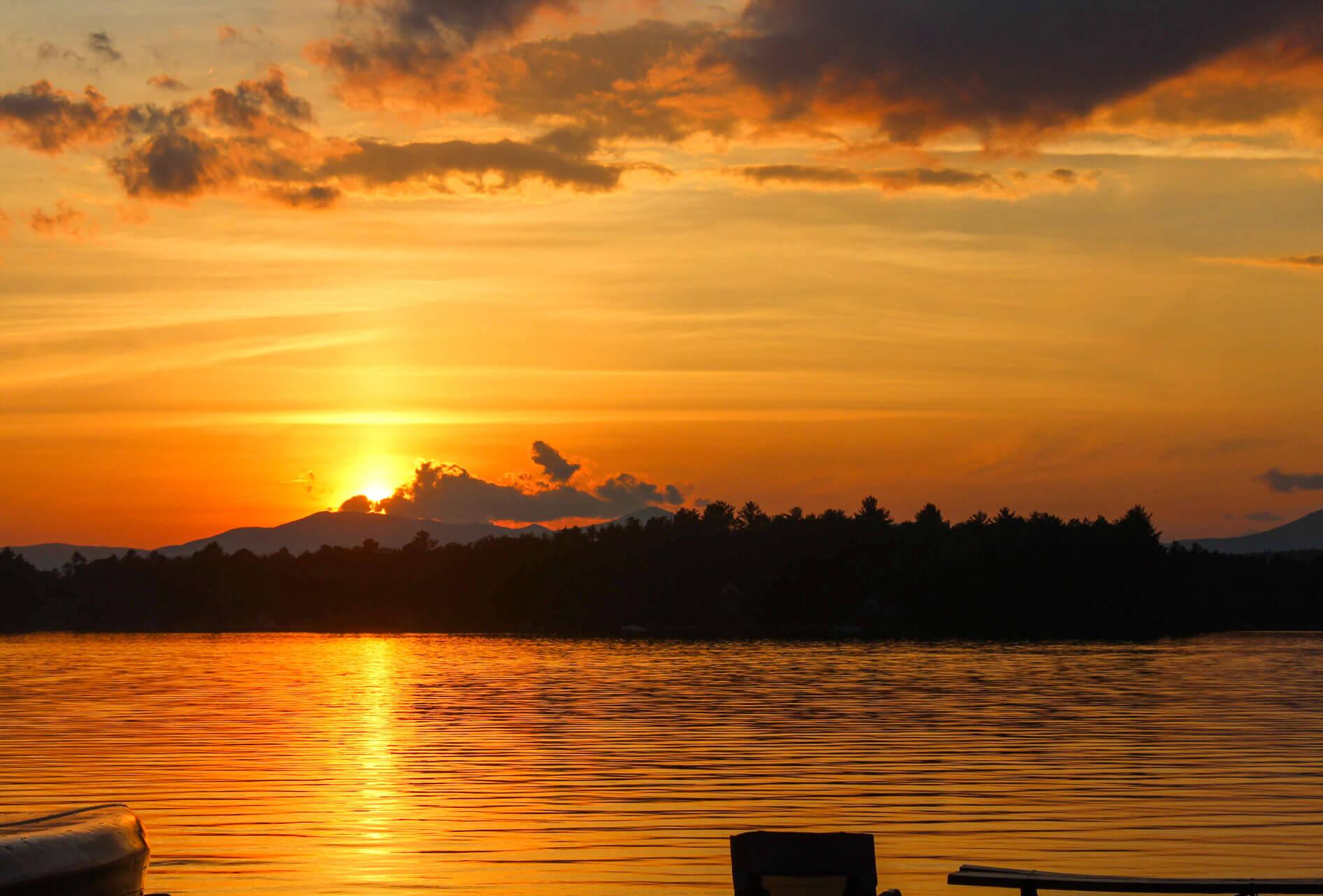 Sunset over camp lake