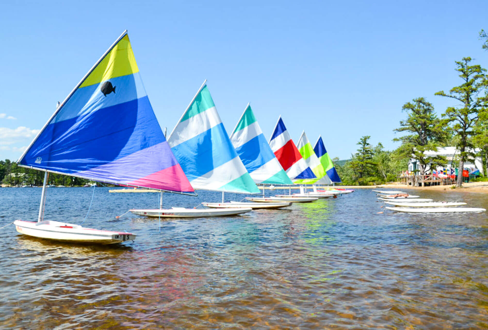Sailboats near camp beach