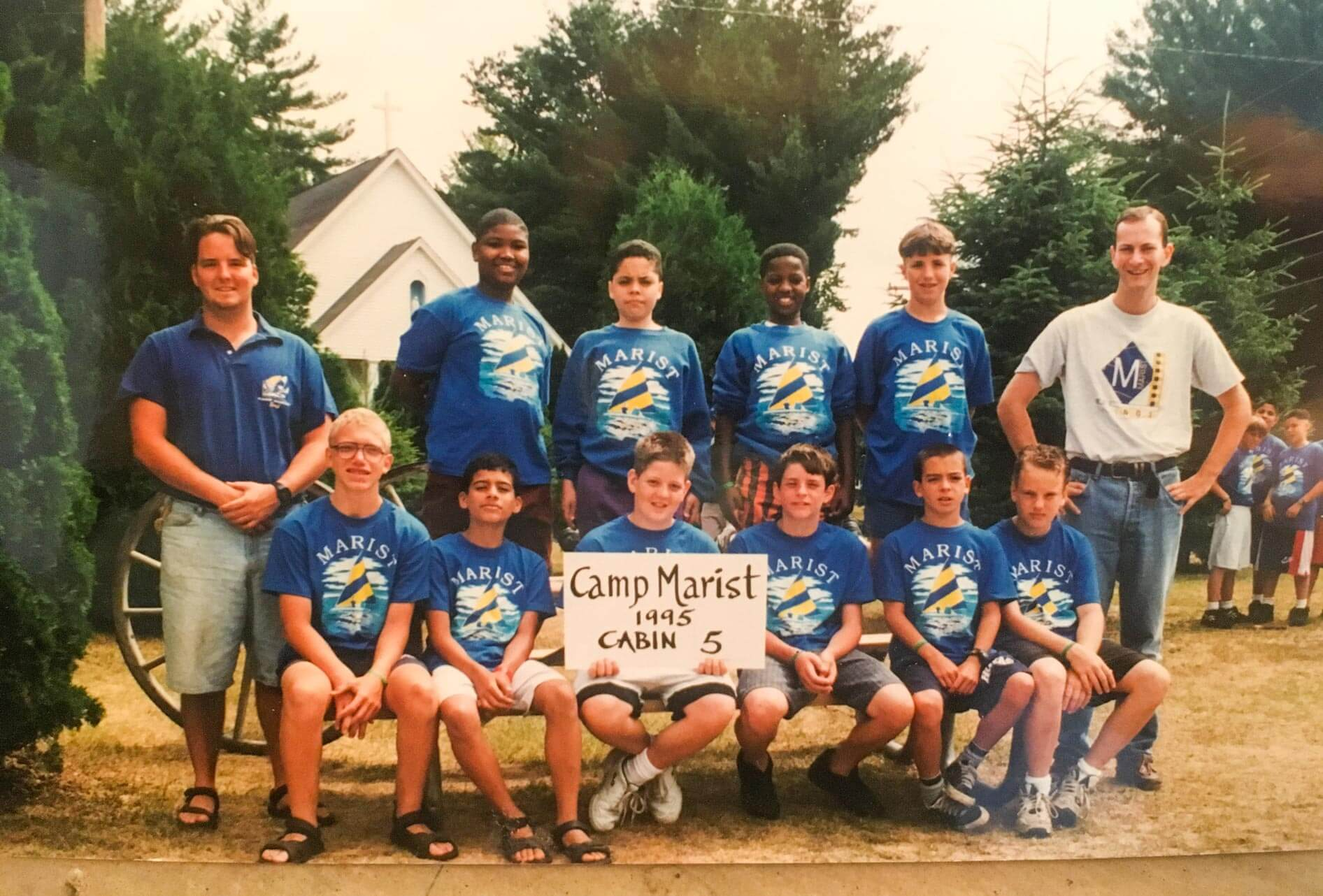 Throwback camp cabin group photo