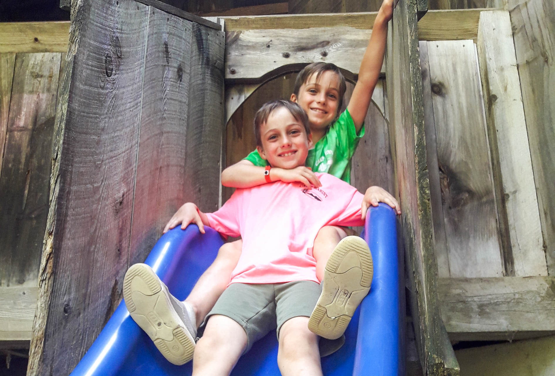 Two campers go down slide
