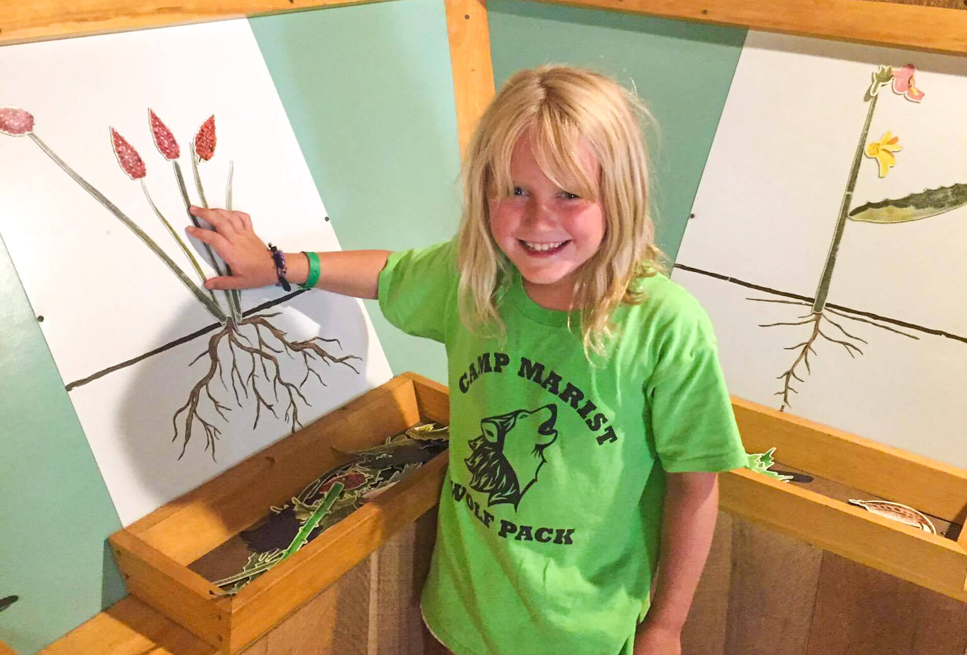Young camper looks at flower diagram